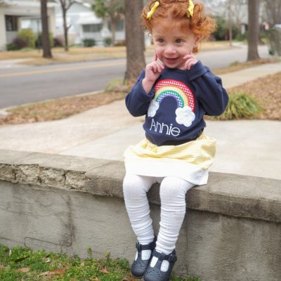 appliqued rainbow shirt and skirt set for girls 7