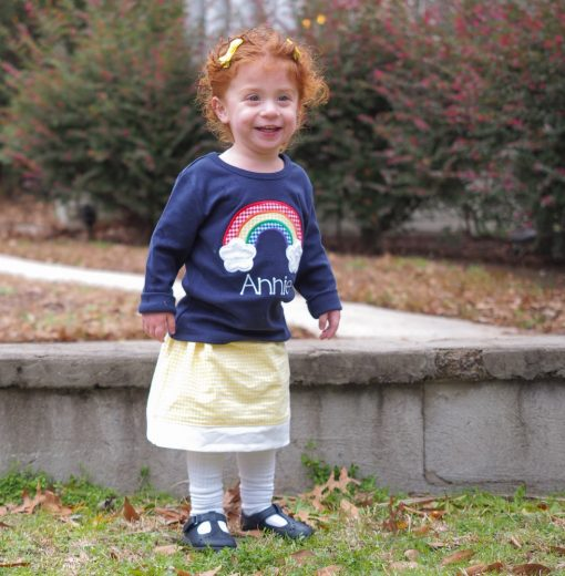 little girls rainbow embroidered shirt