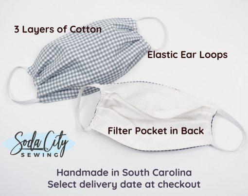 handmade mask features filter pocket elastic loops