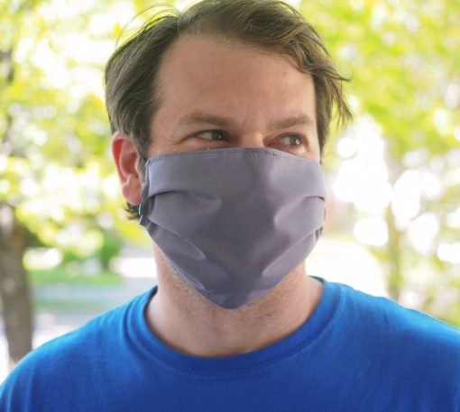 mens solid color grey face mask handmade