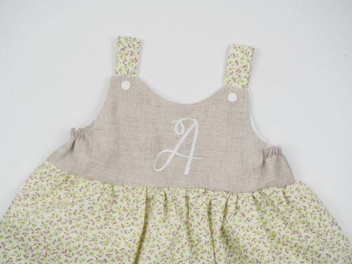 monogrammed bodice dress linen