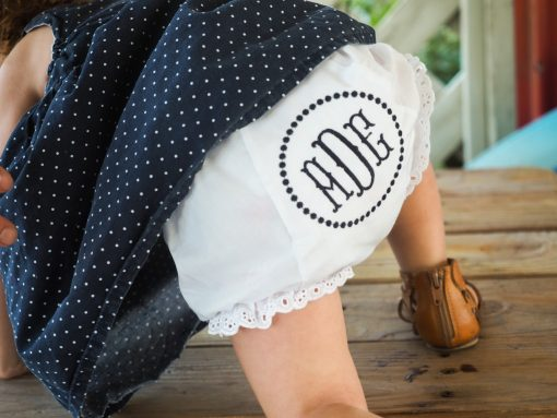 little girls monogrammed bloomers