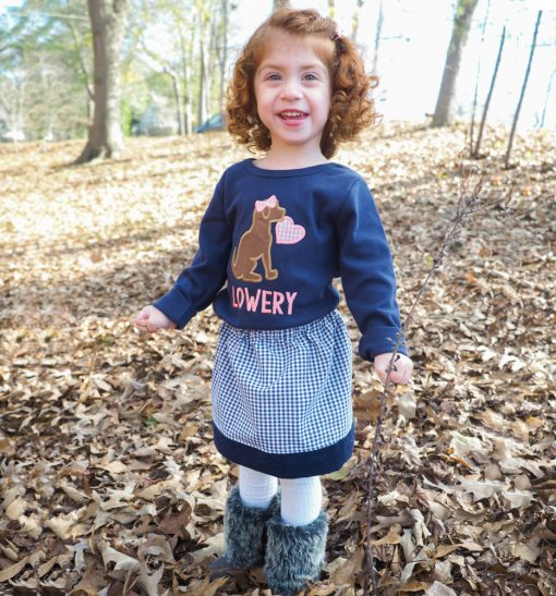 girls valentines day shirt and skirt set monogrammed