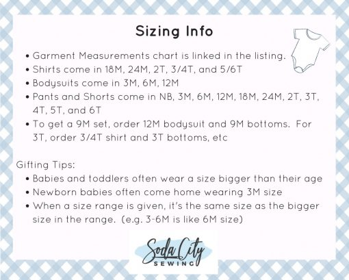 Sizing Information Soda City Sewing