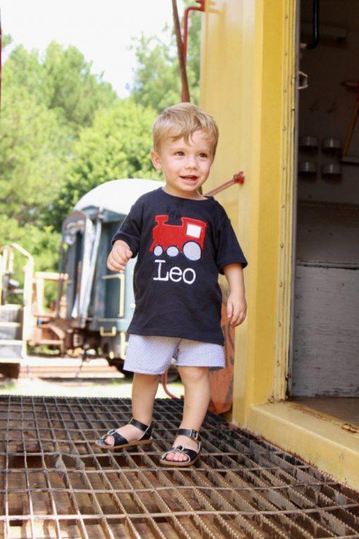 boys train shirt with seersucker shorts