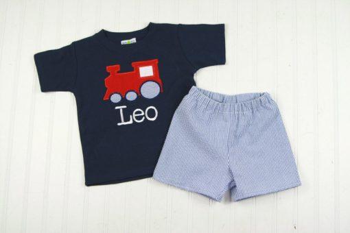 little boys train shirt outfit applique