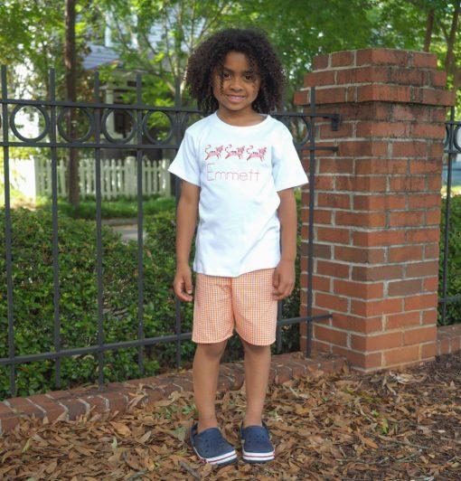 little boy clothes orange gingham shorts