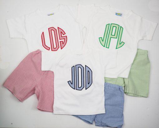 monogram shirt with seersucker shorts