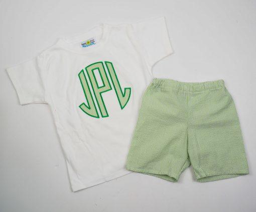 green seersucker shorts and shirt set