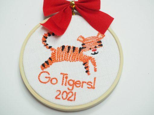clemson embroidery hoop ornament